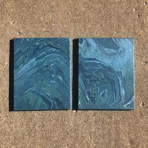 Set of Two Blue Flow Art on 11x14 Canvas